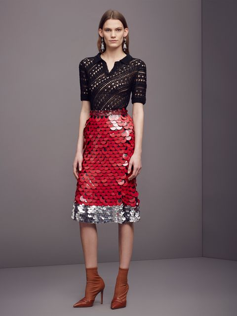 """<p>Paillettes are like the pink Starbursts of fashion, so you should really seize every opportunity you can to plaster them on your body, preferably against a slim sweater, which is like the red Starburst of fashion. And forgo pumps this time—a lower-cut vamp might <a href=""""http://www.marieclaire.com/fashion/tips/g3183/things-make-you-look-shorter/"""">make you look taller</a>, but boots make you look <em>cooler</em>.</p>"""
