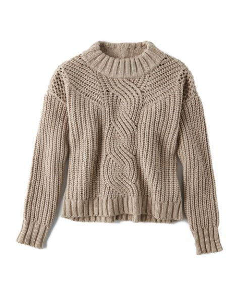 """<p>This chunky topper features a cropped silhouette to negate any extra bulk. Pair with sleek leather leggings or high-waisted trousers for a streamlined look. </p><p>American Eagle Mock Neck Crop Sweater, $29.97&#x3B; <a href=""""https://www.ae.com/web/browse/product_details.jsp?productId=0348_6969_274&catId=cat7670004"""" target=""""_blank"""">ae.com</a></p>"""