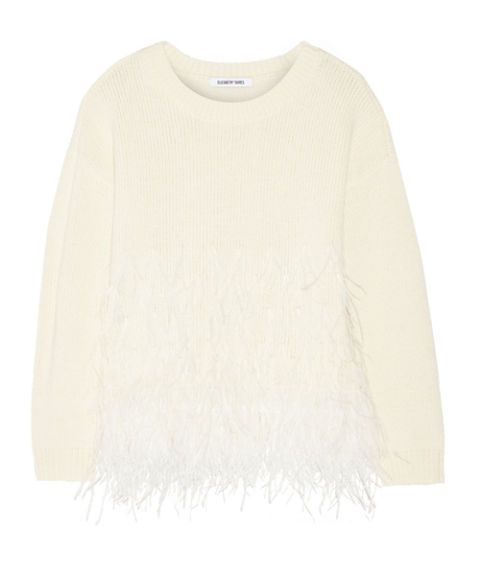 "<p>This Elizabeth and James sweater is embellished with feathers to add texture and a fun finish. Pair with your favorite long skirt or even dark denim for a look that can be worn 24/7.</p><p>Elizabeth and James Feather-Trimmed Sweater, $485; <a href=""https://www.net-a-porter.com/us/en/product/626549"" target=""_blank"">net-a-porter.com</a></p>"