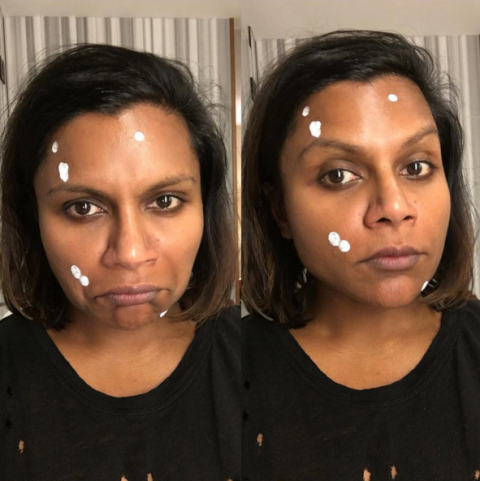 <p>Another woman who's no shrinking violet when it comes to her imperfections, Kaling showed off her constellation of blemishes for all of Instagram to see.</p>
