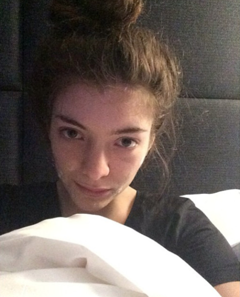 <p>Remember: This is the Kiwi who called out a photo agency for editing out her acne, so you know she keeps it real. Here, Lorde captured her before-bed face with a zit-zapping agenda.</p>