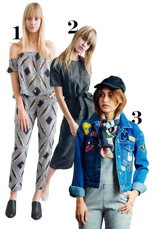 "<p>1. Geometric print set, $75, <a href=""http://www.shopkoshka.com/new-in/geo-print-set/"">shopkoshka.com</a>.</p><p>2. Charcoal culotte jumpsuit, $65, <a href=""http://www.shopkoshka.com/new-in/charcoal-culotte-jumpsuit/"">shopkoshka.com</a>.</p><p>3. Patch denim jacket, $79, <a href=""http://www.shopkoshka.com/new-in/patch-denim-jacket/"">shopkoshka.com</a>.<br></p>"