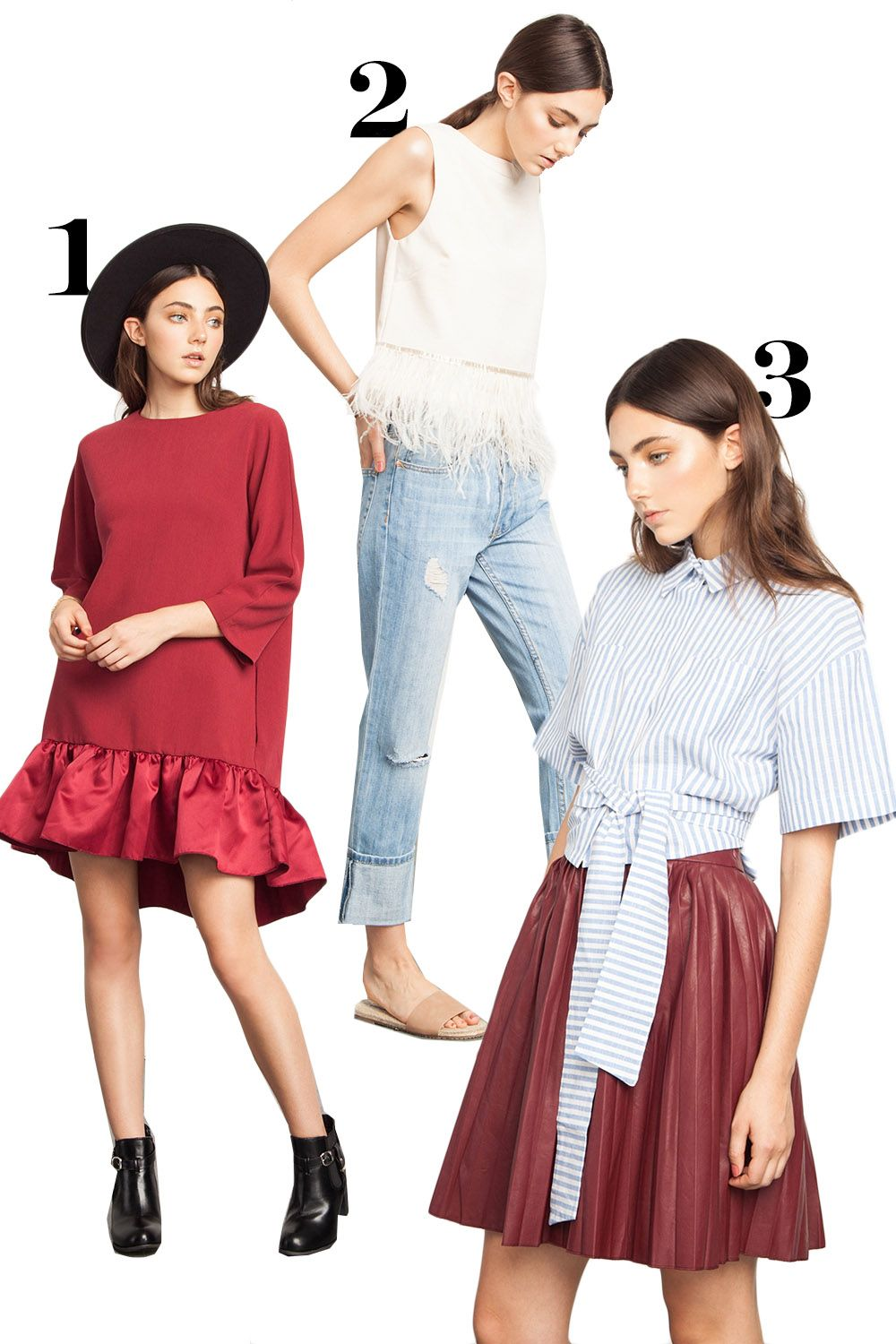 "<p>1. High-low dress, $78, <a href=""http://www.acommonspace.com/simone-high-low-dress"">acommonspace.com</a>.</p><p>2. Cuffed jeans, $30, <a href=""http://www.acommonspace.com/knee-rip-cuffed-jeans"">acommonspace.com</a>.</p><p>3. Tie-waist striped shirt, $38, <a href=""http://www.acommonspace.com/tie-waist-stripes-shirt"">acommonspace.com</a>.</p>"
