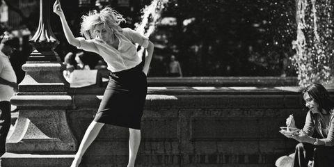 Human leg, Monochrome, Style, Dress, Monochrome photography, Black-and-white, Black, Water feature, Street fashion, Stairs,