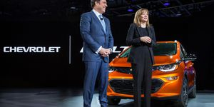 General Motors Chairman and CEO Mary Barra introduces the 2017 Chevrolet Bolt EV at its world debut during the Consumer Electronics Show Wednesday, January 6, 2016 in Las Vegas, Nevada. The Bolt EV offers more than 200 miles of range on a full charge at a price below $30,000 after Federal tax credits. The Bolt EV features advanced connectivity technologies and seamless integration. The Bolt EV will begin production by the end of 2016.
