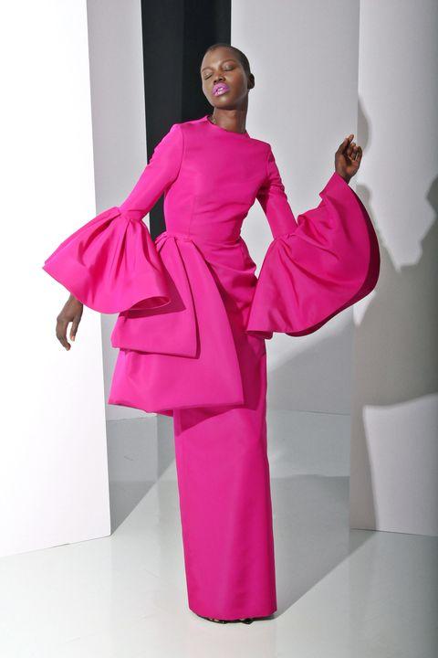 Sleeve, Shoulder, Magenta, Pink, Formal wear, One-piece garment, Dress, Purple, Day dress, Pillow,