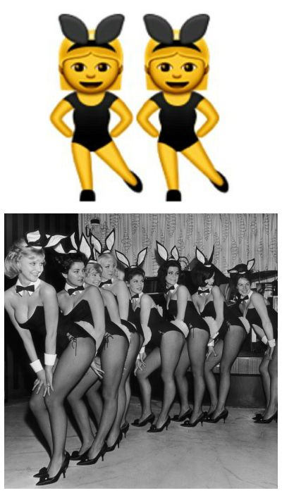 """<p><strong>What You Thought It Was: </strong>You and your BFF</p><p><strong>What It Actually Means: </strong>The technical definition is """"Woman With Bunny Ears""""—Apple's version just happens to be a duo—but it's actually a subtle nod to the Playboy Bunny. In Japan, a """"Bunny Girl"""" is also know as Kemonomimi, a human-animal hybrid.</p>"""
