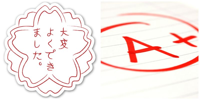 <p><strong>What You Thought It Was:</strong> ???</p><p><strong>What It Actually Means: </strong>Its literal definition is a cherry blossom, but the symbol is essentially the equivalent of an A+. Japanese teachers use the stamp instead of smiley-face stickers to mark a job well done.  </p>