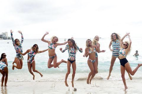 Leg, Fun, People, People on beach, Social group, Swimwear, People in nature, Summer, Leisure, Bikini,