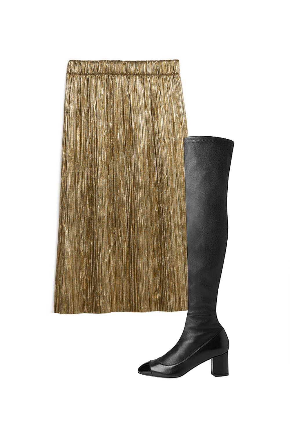 "<p>Oh? You don't have an accordion-pleated, preferably foil-finish skirt yet? Me neither, but we should really get on that because they are swishy! And Gucci. Alessandro Michele started out pairing them with loafers and pumps, but for pre-fall, he went with tall, metallic boots. Don't tell him this, but I like the more recent footwear choice better—less precious, you know?  </p><p>Zara pleated skirt, $40, <a href=""http://www.zara.com/us/en/collection-ss16/trf/skirts/accordion-pleat-skirt-c587006p3187092.html"">zara.com</a>; L.K. Bennett over-the-knee boot, $695, <a href=""http://bit.ly/208ZVLQ"">lkbennett.com</a>.</p>"