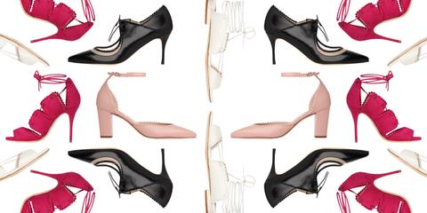 Red, Pink, Font, Carmine, Fashion, Black, Brand, Fashion design, Dancing shoe, Foot,