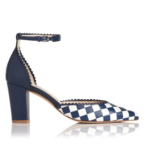"<p>""Alexa"" in navy checkerboard, $495,  <a href=""http://www.lkbennett.com/"">lkbennett.com</a>.</p>"