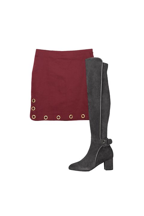 "<p>Alternatively, a high-rise boot with a modest heel can de-sexify a miniskirt when it's too cold out to wear your regular glitter socks and brogues.  </p><p>A Common Space grommet skirt, $20, <a href=""http://www.acommonspace.com/grommet-mini-skirt"">acommonspace.com</a>; L.K. Bennett suede knee-length boots, $695, <a href=""http://bit.ly/1lY2pKb"">lkbennett.com</a>. </p>"