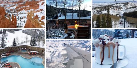 Winter, Snow, Mountain range, Terrain, Geological phenomenon, Freezing, Dessert, Hill station, Collage, Dairy,