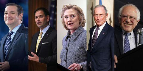 Hillary Clinton, Ted Cruz, Marco Rubio, Bernie Sanders, Michael Bloomberg