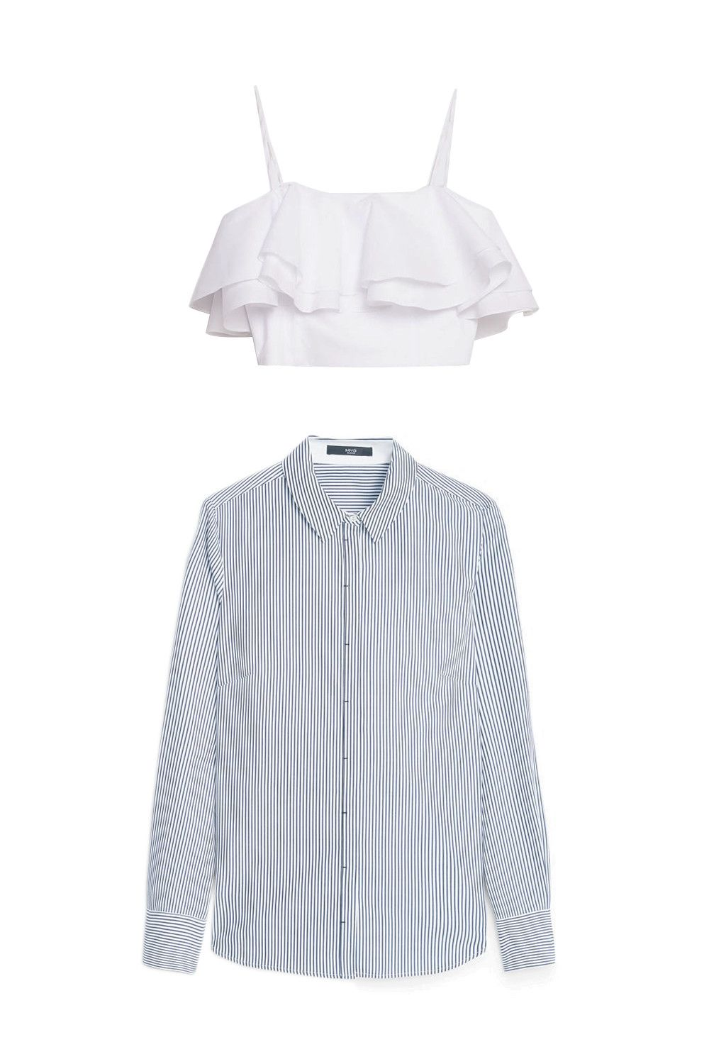 "<p>You get a cool blouson effect with the shirt ends poufing out from below the relatively tight bustier. (Yes, you layer the bustier over the blouse.) Plus ""winter body"" and ""cropped bustier"" are two words you usually don't see together. </p><p>Zara ruffle bustier, $50, <a href=""http://www.zara.com/us/en/woman/tops/view-all/frilled-bustier-top-c719021p3219050.html"">zara.com</a>; Mango striped cotton shirt, $20, <a href=""http://bit.ly/1nHh5i2"">shop.mango.com</a>.</p>"