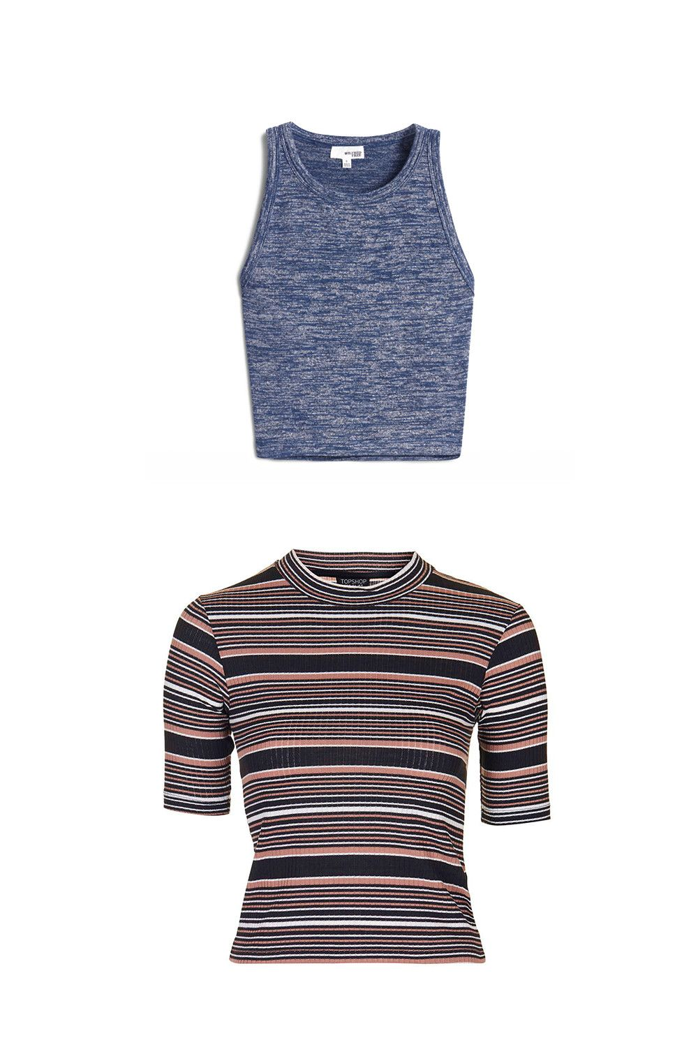 "<p>Think baseball T-shirt: The tank is the body, and the sweater provides the sleeves. The necklines and prints are up to you. </p><p>Aritzia tank top, $30, <a href=""http://us.aritzia.com/product/winberg-tank/50131.html?dwvar_50131_color=11241"">aritzia.com</a>; Topshop striped top, #35, <a href=""http://bit.ly/1me3EoS"">topshop.com</a>.</p>"