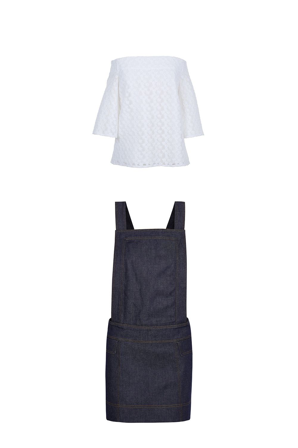 "<p>I still haven't found a not-weird way of putting a turtleneck under a Bardot neckline, so why fight it? Look for dungarees or an overall dress, tuck in the top well at the sides, and take a look at the winners of our <a href=""http://www.marieclaire.com/fashion/news/g3430/best-black-tights/"" target=""_blank"">opaque tights test</a>. If you're really committed to wearing the shirt *over* something, though, pick similar colors and fabrics. Just make sure the elasticated bit isn't too obvious—you want it to look like one cohesive garment. </p><p>Tibi floral off-the-shoulder top, $495, <a href=""http://bit.ly/1TEktXx"">tibi.com</a>; Victoria Beckham Denim dress, $205, <a href=""http://bit.ly/1NQBrKV"">net-a-porter.com</a>.<span></span></p>"