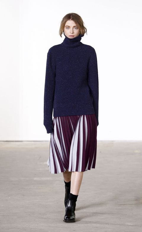 <p>What's the best part of this Orley look? Is it the hair tuck? The pleated midi skirt that has two tones so it's different from all the other skirts-of-the-moment out there? Neither! It's the Fashion Sock, which is what we're going to talk about for the next few minutes because it is both practical and style-affirming, a rare combination indeed. </p>