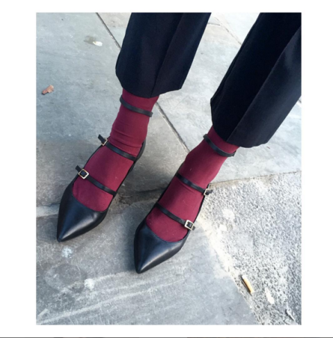 "<p>First up: <a href=""https://www.instagram.com/pandorasykes/"">Pandora Sykes</a>, a staunch proponent of the FS and its ankle-warming properties. Worn alone, these <a href=""http://bit.ly/1PJYg4H"">Topshop mid-heels</a> are 50 percent buckles, 50 percent toe cleavage. With the burgundy knit socks underneath, they're 100 percent witchy. </p>"