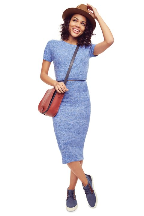 Product, Sleeve, Shoulder, Bag, Joint, Standing, Waist, Dress, Fashion accessory, Electric blue,
