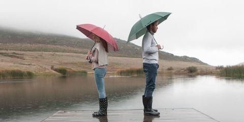 Water, Jeans, Shirt, Umbrella, Leisure, People in nature, Denim, Bank, Reflection, Lake,
