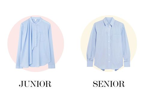 "<p>A plain blue shirt can be so account-y, but add a flappy half-cape to the front, a built-in belt, or a panel in a contrasting fabric, and it's suddenly *fashion.* </p><p>COS drape-color shirt, $89, <a href=""http://www.cosstores.com/us/Women/Shirts/Grandad_collar_drape_shirt/10898847-19046229.1#c-15133331"">cosstores.com</a>.</p><p>Sacai satin-panel poplin shirt, $350, <a href=""http://bit.ly/1TevEHm"">net-a-porter.com</a>.</p>"