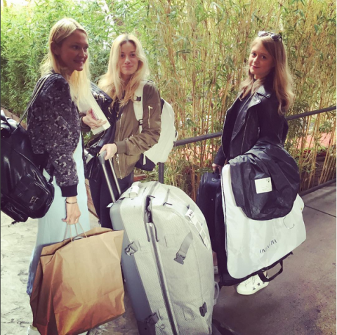 <p>I arrive with Nat and Kate—my right and left arms. Yes, this is all luggage for one day! Roughly 15 pairs of shoes, $100,000 worth of diamonds, and 10 designer dresses. If I weren't so busy, I'd feel like a spoiled princess.   </p>