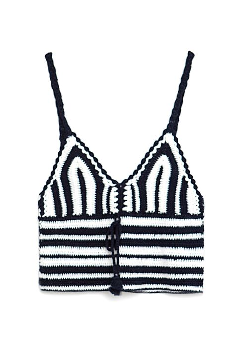 "<p>Pros: on-theme with both halves of the Rihanna video, good for ventilation. Cons: none.</p><p>Zara crochet top, $23, <a href=""http://www.zara.com/us/en/woman/tops/tops/striped-crochet-top-c797509p3247622.html"">zara.com</a>.</p>"