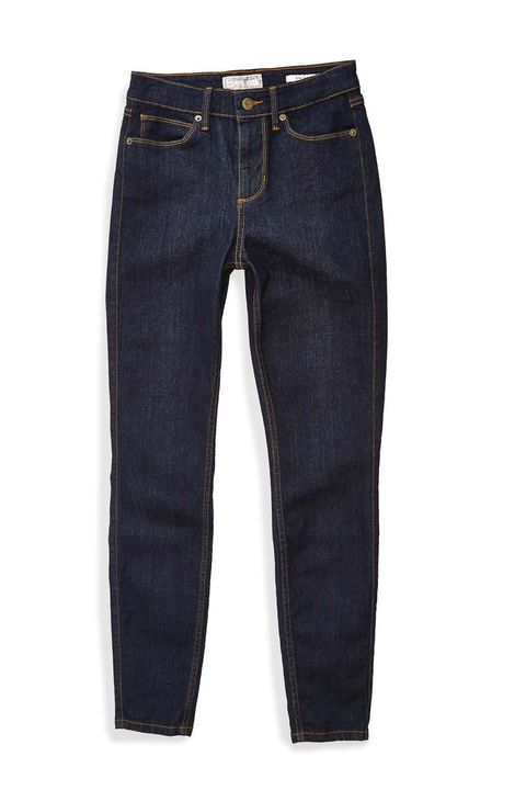 """<p>Low-rise jeans have the propensity to create muffin tops where they don't even exist. Go for a high-rise to avoid the problem altogether, and hide anything in that midsection you're not particularly keen on.</p><p>Guess 1981 High-Rise Skinny Jeans with Silicone Rinse, $89; <a href=""""http://shop.guess.com/en/Catalog/View/women/denim/high-rise/1981-high-rise-skinny-jeans-with-silicone-rinse/WB3AB4R0YT1"""" target=""""_blank"""">guess.com</a></p>"""