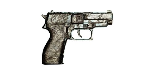 Gun, Firearm, Trigger, White, Line, Gun accessory, Black, Grey, Tan, Gun barrel,