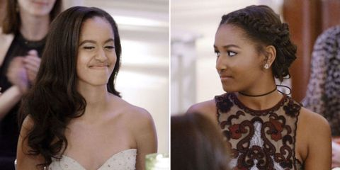 Malia and Sasha Obama Looked *So* Lovely at Their First State Dinner