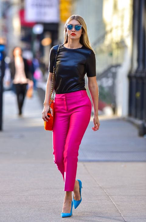 Clothing, Eyewear, Shoulder, Textile, Joint, Outerwear, White, Pink, Sunglasses, Street fashion,