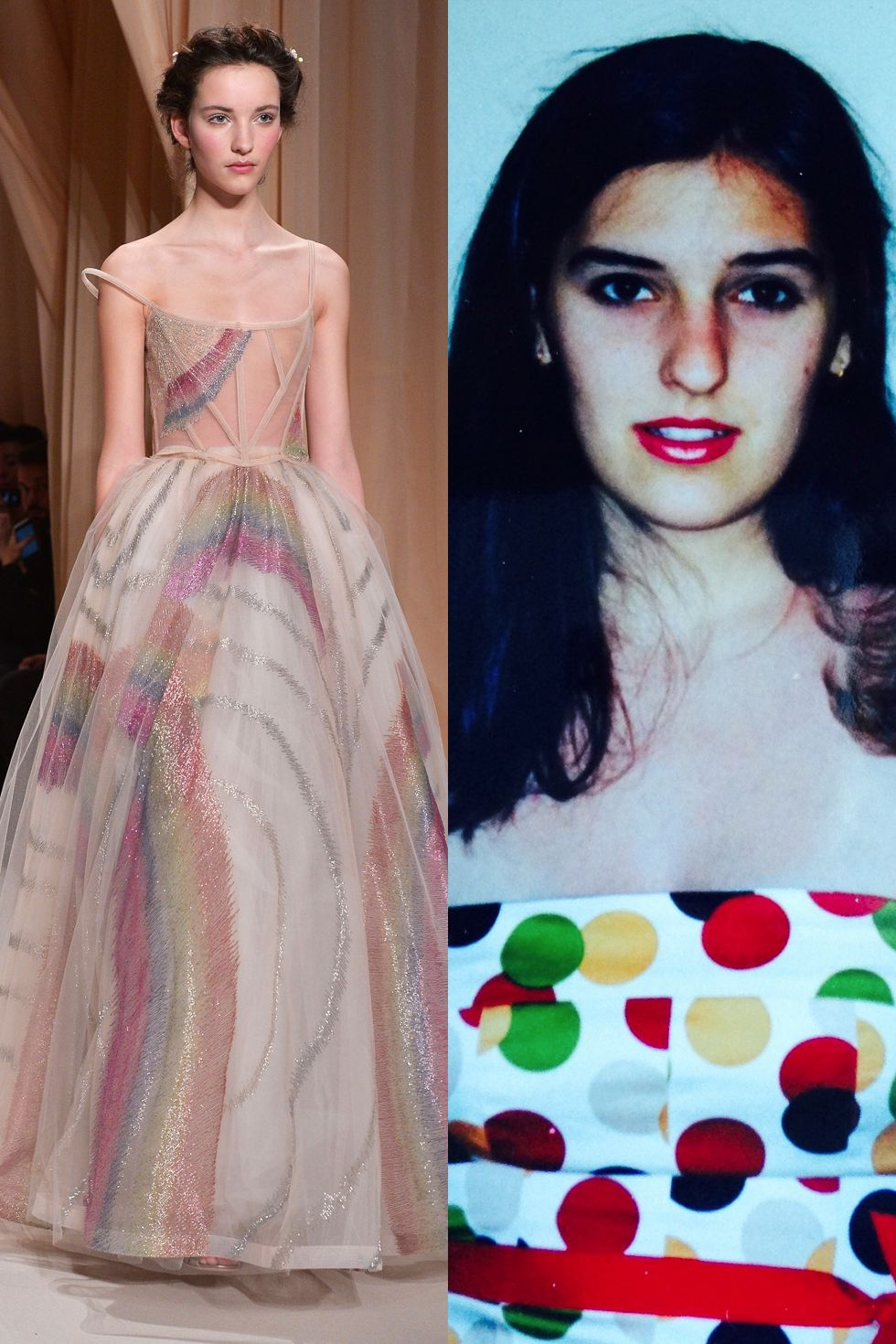 "<p>""This Spring 2015 Valentino dress is part of a collection inspired by my two favorite things other than Doritos: Chagall and Dante. This particular gown doesn't have the embroidered stanzas that were the collection's hallmark, but it does have adult Lisa Frank rainbows, so basically it's all coming together. Tragically, it didn't come together for me during prom, because I looked like this."" (We don't know what she's talking about either.) </p>"