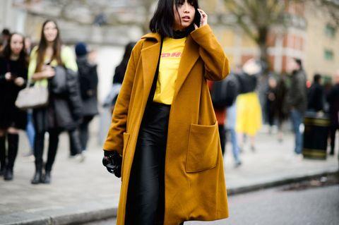 Yellow, Winter, Outerwear, Coat, Bag, Jacket, Style, Overcoat, Street fashion, Fashion,