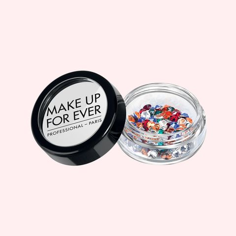 "<p>A mainstay on the runway, these 100% Swarovski crystal pieces are bejeweled brows in a teeny-tiny tub. Whether you're going for full-on shimmering arches or a few accent rhinestones, make 'em stick with lash glue.</p><p><em>Make Up For Ever Crystal Strass, $21; <a href=""http://www.makeupforever.com/us/en-us/make-up/artistic/glitter-strass/crystal-strass"" target=""_blank"">makeupforever.com</a>.</em></p>"
