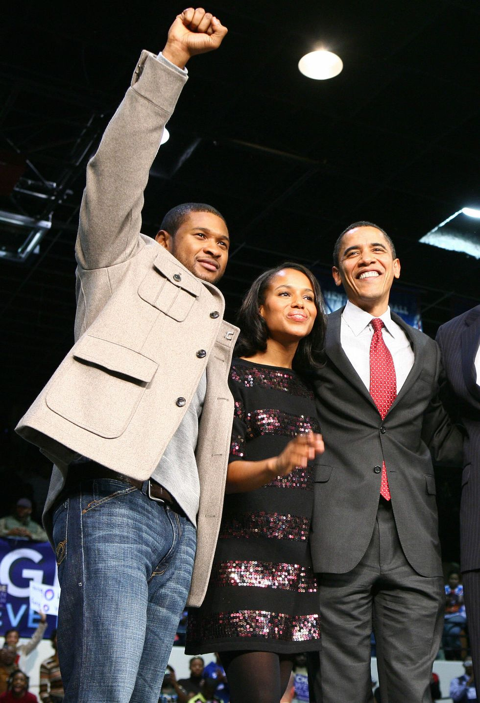 Kerry Washington and Usher With Barack Obama Kerry Washington and Usher showed some love to the future 44th president as he campaigned for his first election in 2008. The trio reunited once more at President Obama's White House farewell party in 2017, which, apparently, was a total rager —word on the street is that the demure actress was moshing!