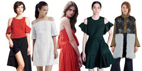 Clothing, Dress, Sleeve, Shoulder, Red, Waist, Formal wear, Pattern, One-piece garment, Style,