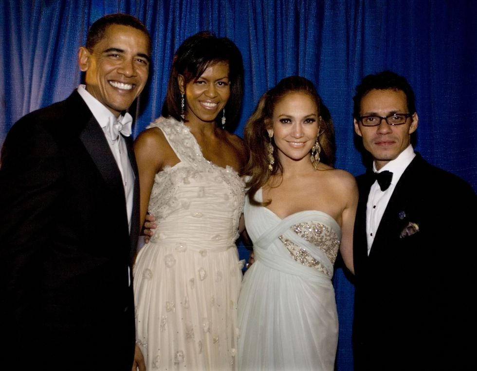 "Jennifer Lopez and Marc Anthony With Barack Obama Snazzily dressed in their best black-tie attire, J.Lo and Marc Anthony posed with the First Couple at President Obama's inaugural ball in 2008. The then-married couple also performed together at the big event, singing the romantic duet  ""No Me Ames"" onstage."