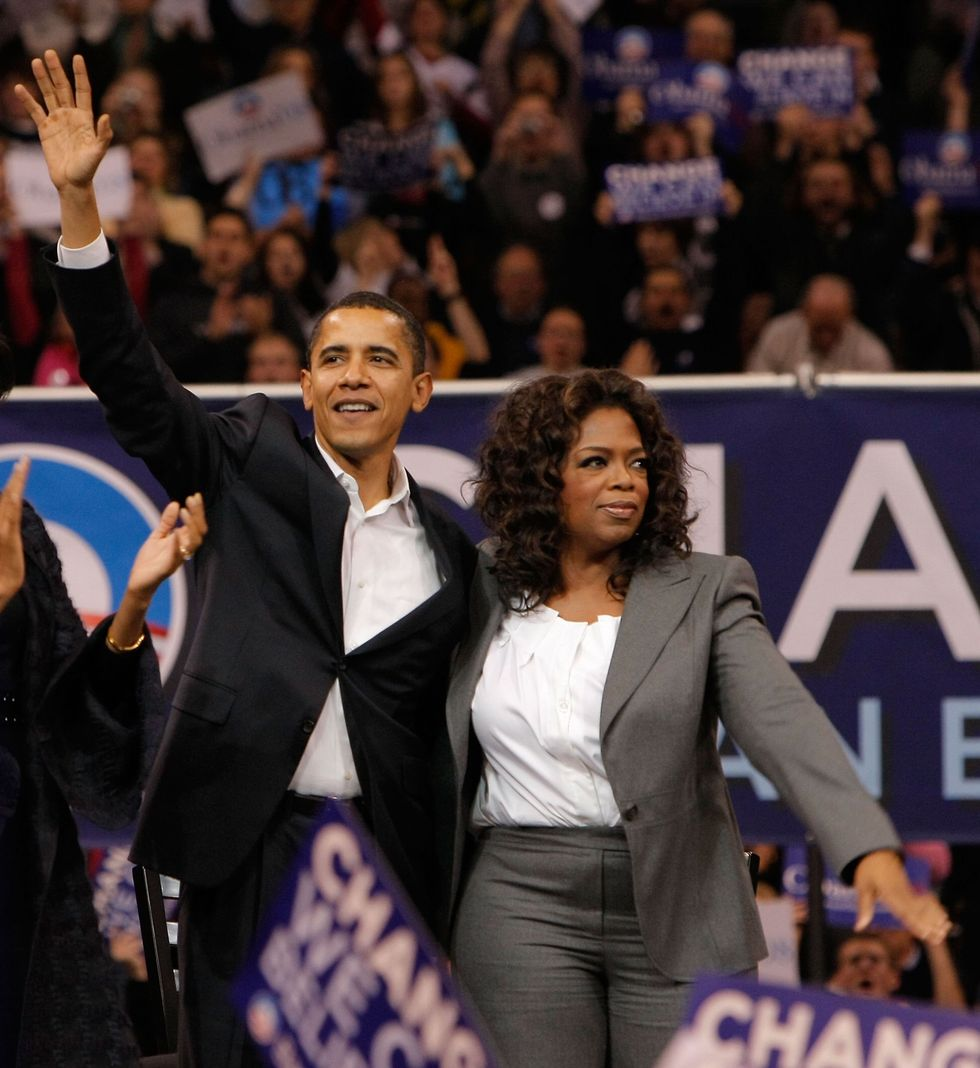 Oprah Winfrey With Barack Obama Oprah Winfrey stepped out in a grey power suit to offer one of the earliest endorsements of then-Senator Barack Obama's first presidential run in 2007. Passionate about the young senator's cause and drive, the TV mogul even hit the road with the Obamas and joined them on the campaign trail.