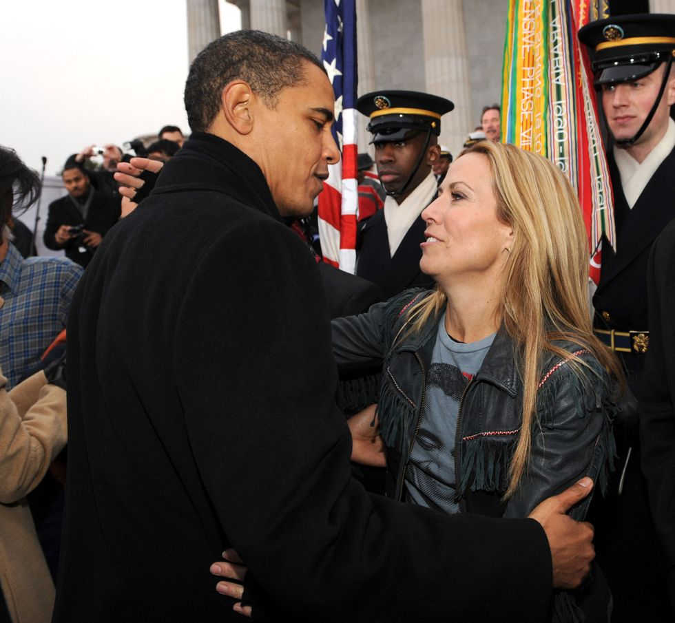 "Sheryl Crow With Barack Obama Sheryl Crow went in for a hug after hitting the stage at the 2009 ""We are One: The Obama Inaugural Celebration"" in Washington, D.C. (in a T-shirt featuring his visage, no less). The singer-songwriter supported President Obama in both the 2008 and 2012 presidential elections and even performed at a 2015 Democratic primary debate."