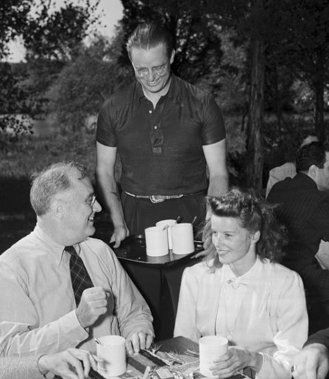 Katharine Hepburn With Franklin D. Roosevelt Did you know that FDR and Katharine Hepburn were related through a common ancestor on the Mayflower? Well, when the actress joined the president for a luncheon devoted planning a radio show special on behalf of his 1940 presidential election—to which Hepburn wore a signature button down—they probably talked about that and more.