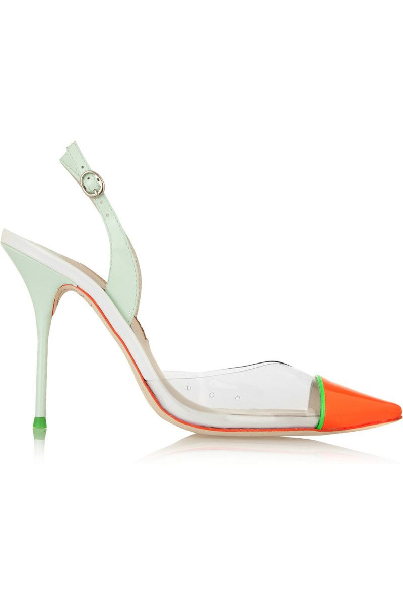 """<p>Perfectly suited for the warmer months ahead (they <em>ar</em><span class=""""redactor-invisible-space""""><em>e</em><span class=""""redactor-invisible-space""""> coming, we hope), these green and orange slingbacks are ideal for a girls' night out.</span></span></p><p><em>Sophia Webster Daria Patent-Leather and PVC Pumps, $197; </em><a href=""""https://www.theoutnet.com/en-US/product/Sophia-Webster/Daria-patent-leather-and-PVC-pumps/672348"""" target=""""_blank""""><em>theoutnet.com</em></a></p>"""