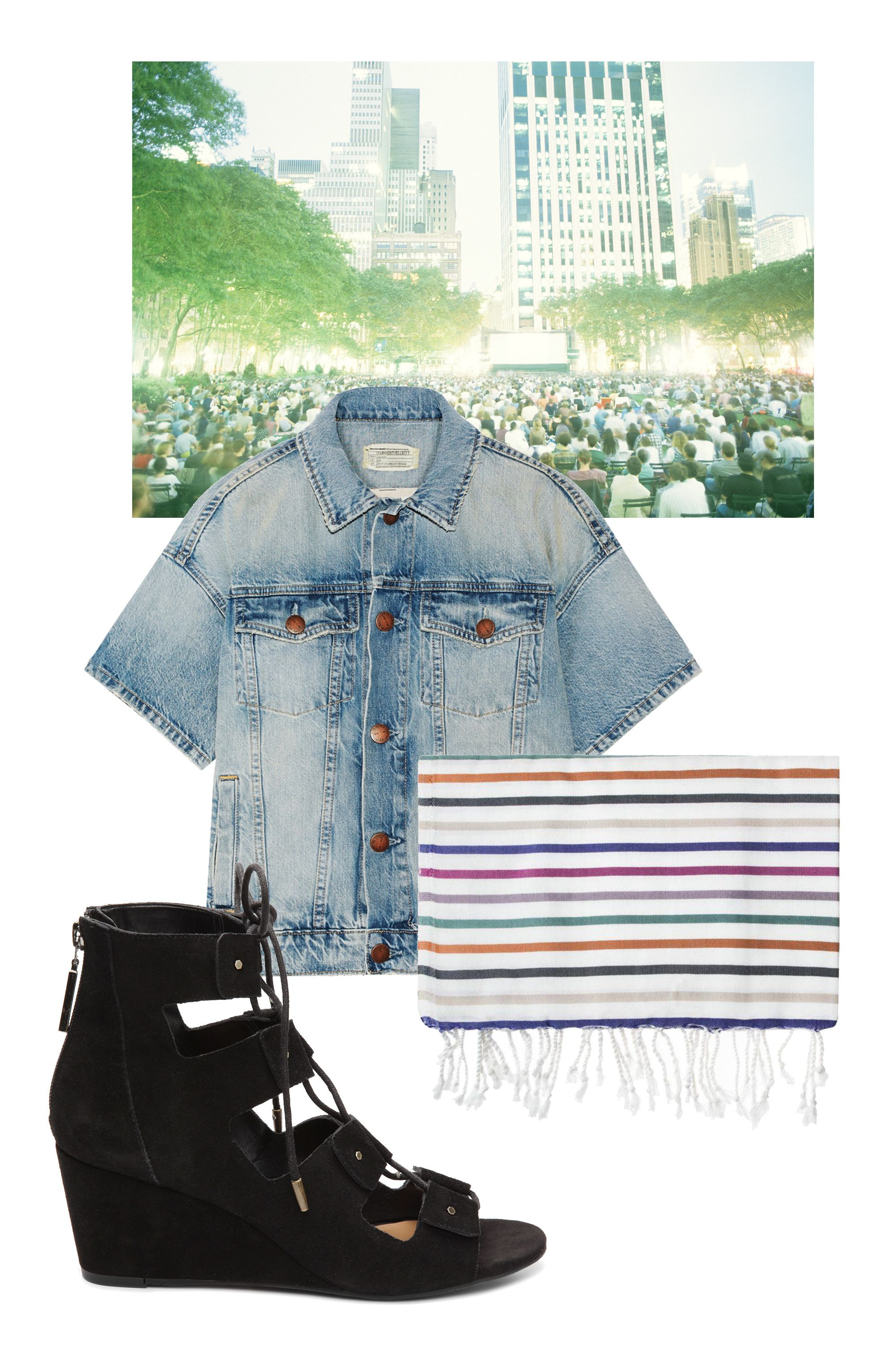 "<p>In lieu of the latest blockbuster, skip the theater and watch an old  classic outdoors. Pack bug spray, beer, a blanket and arrive early—the best spots on the grass go fast! </p><p><br> </p><p><em>Dolce Vita Lucy Wedge, $79.95, <a href=""http://www.dsw.com/shoe/dolce+vita+lucy+wedge+sandal?prodId=355574&cm_mmc=display-_-Media-Hearst-Spring2016"" target=""_blank"">dsw.com</a>; Fuchsia Portofino Peshtemal Simple Life, $68, <a href=""http://domino.com/simple-life-fuchsia-portofino-peshtemal/50154037-049118"" target=""_blank"">domino.com</a>; Current/Elliott The Rolled Sleeve Trucker Denim Jacket, $340, <a href=""http://www.matchesfashion.com/us/products/1043467?country=USA&LGWCODE=1043467000002;104033;6167&visitor_id=v3_a7c4d8ba-1864-11e6-ac40-001636bdd5d5&gclid=Cj0KEQjw09C5BRDy972s6q2y4egBEiQA5_guv4RP-NLqfW3IqiN5ahnlINreBS8aoq7j9Kj8yPW0ZwQaAi-78P8HAQ&qxjkl=tsid%3A75618%7Ccid%3A275295246%7Cagid%3A17618770566%7Ctid%3Apla-85326529617%7Ccrid%3A66843440646%7Cnw%3Ag%7Crnd%3A7886097451610025453%7Cdvc%3Ac%7Cadp%3A1o11"" target=""_blank"">matchesfashion.com</a><span class=""redactor-invisible-space""><a href=""https://www.net-a-porter.com/us/en/product/660077/Current_Elliott/the-rolled-sleeve-trucker-denim-jacket""></a></span></em></p>"
