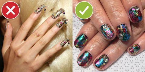 Blue, Green, Finger, Skin, Nail, Nail care, Purple, Red, Nail polish, Photograph,