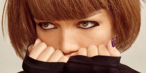 Finger, Lip, Brown, Hairstyle, Skin, Eyebrow, Eyelash, Nail, Tooth, Organ,