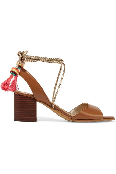 "<p>Spruce up a standard neutral with a little somethin' somethin'—like tassles. This pair, with a 2.5-inch heel, is ideal for <del>strolling</del> running around, and the brown leather goes with anything in your closet, basically.</p><p><em>Sam Edelman Shani Tasseled Leather Sandals, $150; </em><a href=""https://www.net-a-porter.com/us/en/product/667458/sam_edelman/shani-tasseled-leather-sandals"" target=""_blank""><em>net-a-porter.com</em></a></p>"