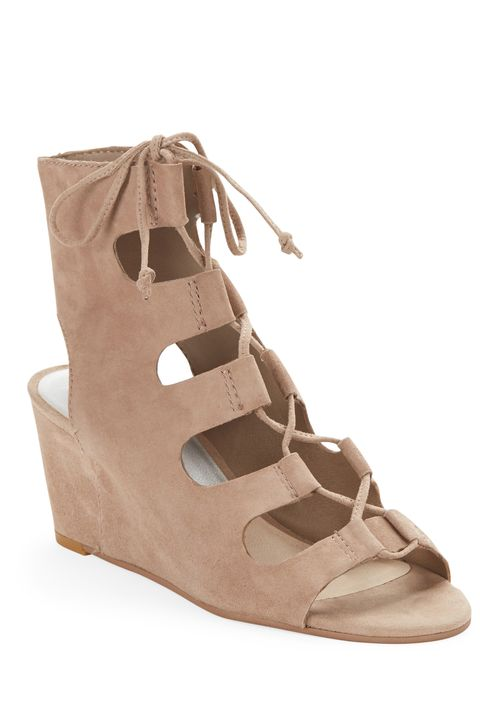 "<p>The lace-up feature is even more lovable in a soft suede and a wedge, when you want to look  *good* but have shit to do. </p><p><em>Dolce Vita Suede Lace-Up Wedges, $130; </em><a href=""http://www.lordandtaylor.com/webapp/wcs/stores/servlet/en/lord-and-taylor/suede-lace-up-wedges"" target=""_blank""><em>lordandtaylor.com</em></a></p>"