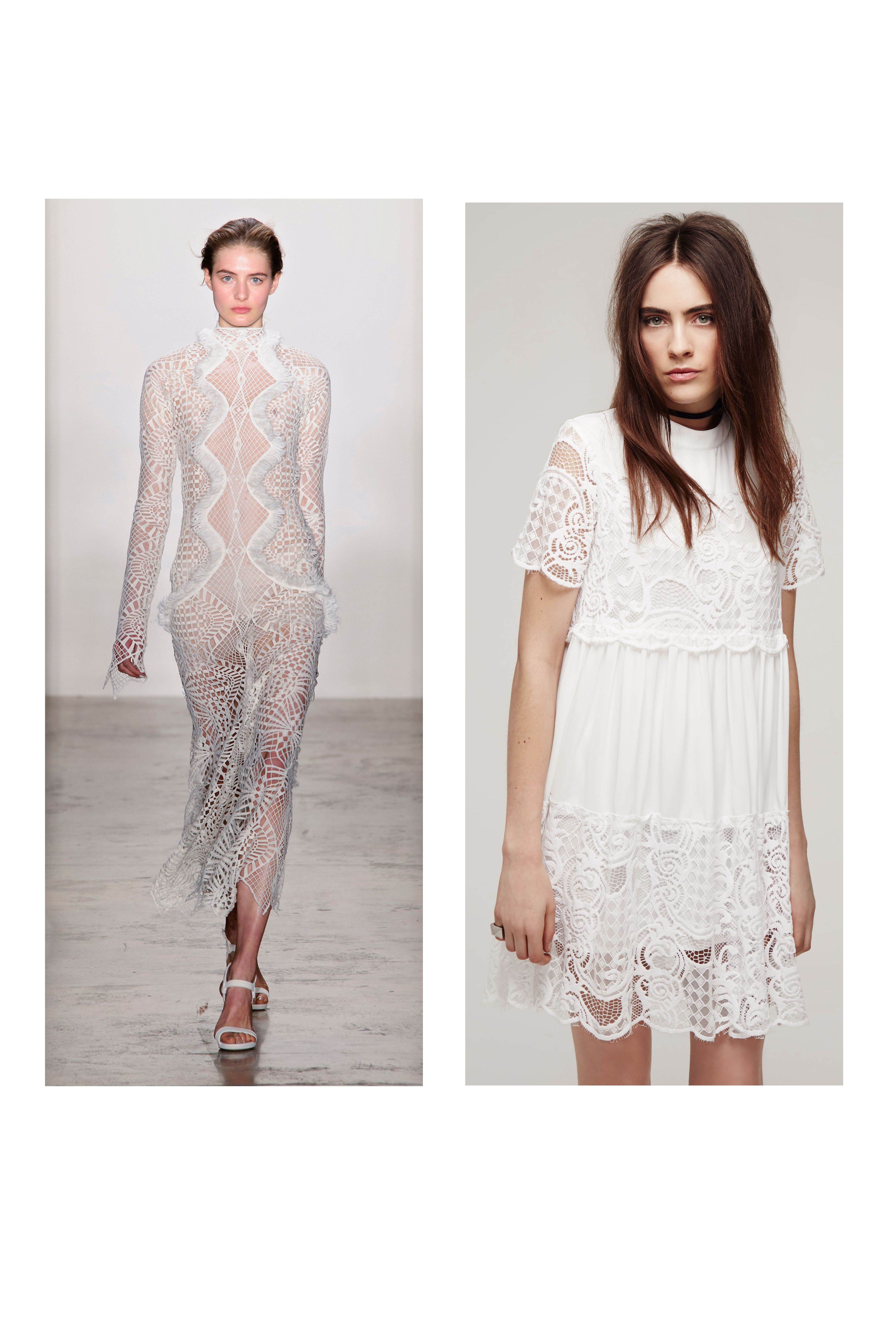 "<p><strong><strong><u>The Trend</u>:</strong> </strong>Romance is in the air! Frothy lace details are turning up here, there, and everywhere on the catwalks. Whether you're channeling a nouveau Victorian vibe or going for boho, a short and sweet lace dress will be your go-to now through the holidays.</p><p><strong><u><br></u></strong></p><p><strong><u>The Styling Tip</u>:</strong> When temps drop, simply slip on a biker jacket and black tights. Leather + lace = failproof chic.<br></p><p><br></p><p><strong><u>The Look</u></strong>: Jonathan Simkhai Fall 2016 (<em>left</em><span class=""redactor-invisible-space"" style=""line-height: 1.6em; background-color: initial;"">); KENDALL + KYLIE Lace Detail Babydoll Dress, $178, <a href=""http://shop.nordstrom.com/c/all-kendall-and-kylie?&cm_mmc=Mindshare_Nordstrom-_-MayWAP-_-Hearst-_-proactive"" target=""_blank"">nordstrom.com</a>; choker and rings, <em>stylist's own</em></span><br></p>"