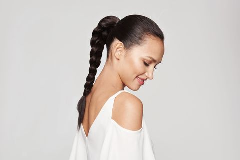"<p>You don't need advanced braiding skills to do this style, but there <em>is</em> a trick to getting the right amount of smoothness in the front: ""Don't apply serum until after you make the ponytail. If you do it before, you hair will be slippery and the band will slide out of place,"" says Lawless. He suggests spritzing a texturizing spray on dry hair, over the area where you're going to place an elastic band. One we like: <a href=""http://www.oribe.com/dry-texturizing-spray.html"" target=""_blank"">Oribe Dry Texturizing Spray</a>. After securing your pony at mid-height, apply a serum like <a href=""http://www.joico.com/products/k-pak-protect-shine-serum/"" target=""_blank"">Joico K-Pak Protect and Shine Serum</a> onto the tail and braid it down to just above the ends. ""The serum will add beautiful gloss and uniformity to the hair,"" says Lawless. When you're done braiding, flatten any bumps with a rattail comb, and you're all set!</p>"